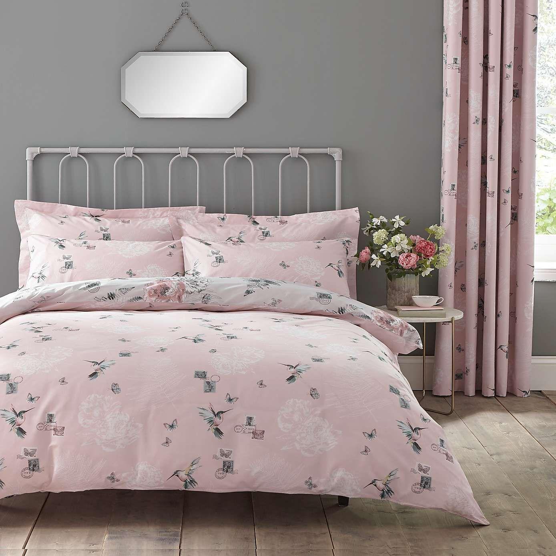 Heavenly Hummingbird Grey & Blush Duvet Cover and