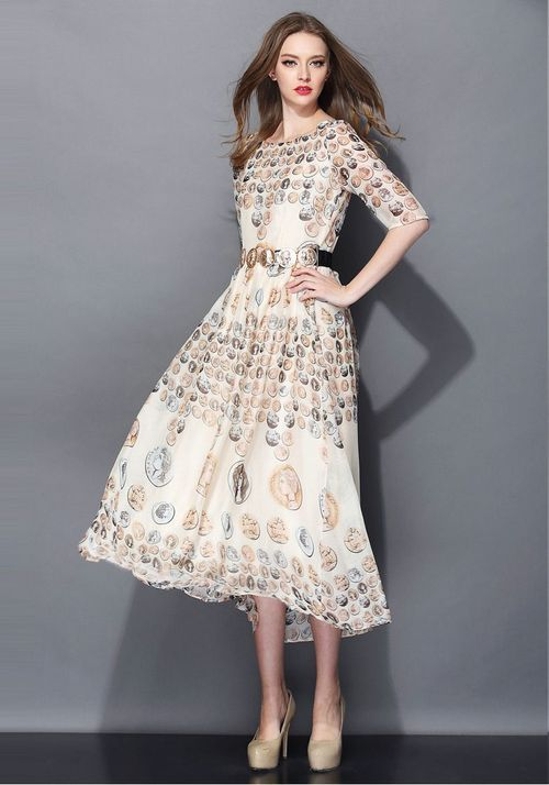 Coin Printed Half Sleeve Dress, vintage a line swing dresses,women's fashion dress