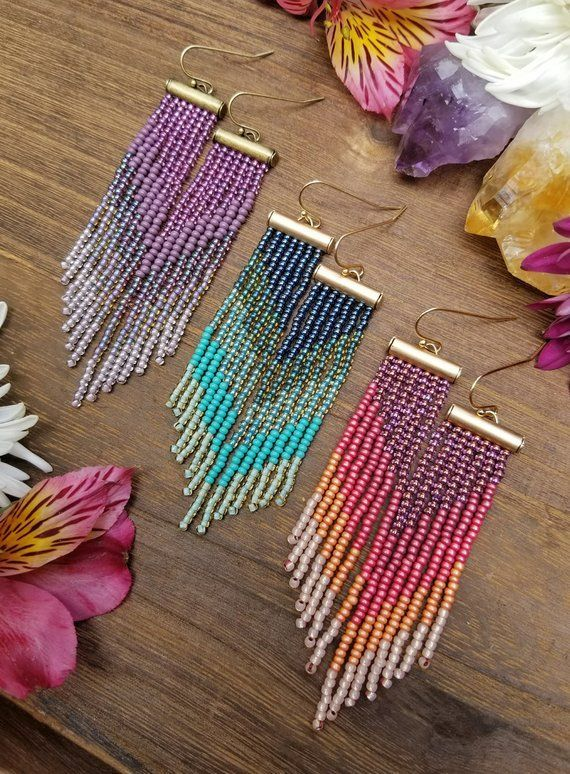 Photo of Lila Ombre Seed Bead Fringe Ohrringe Lavendel | Etsy – Angela Becker Blog