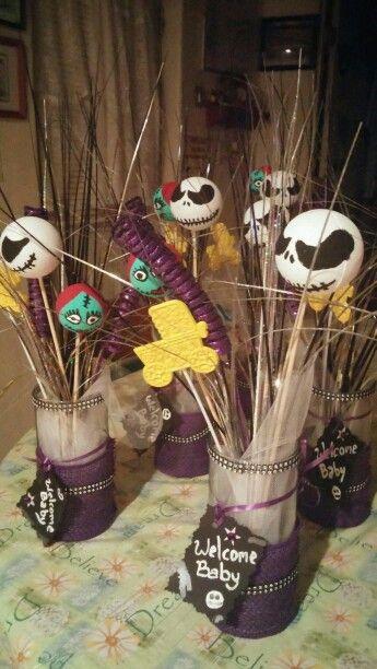 Nightmare before Christmas baby shower centerpieces | Things I love ...