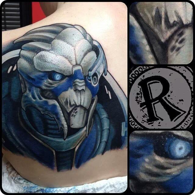 Garrus Tattoo Art Via Reddit User Bargainmusic