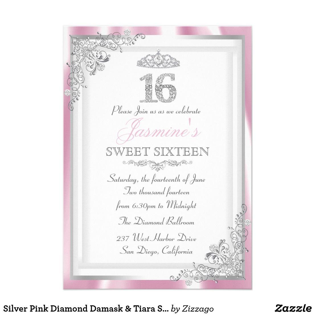 Silver Pink Diamond Damask & Tiara Sweet 16 Invite Silver & Pink ...