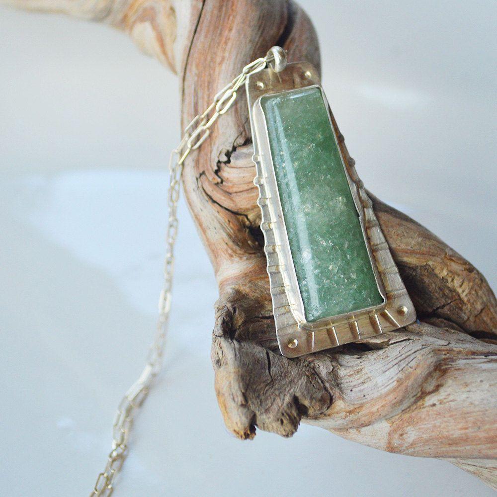 Artisan gemstone pendant necklace sterling green aventurine