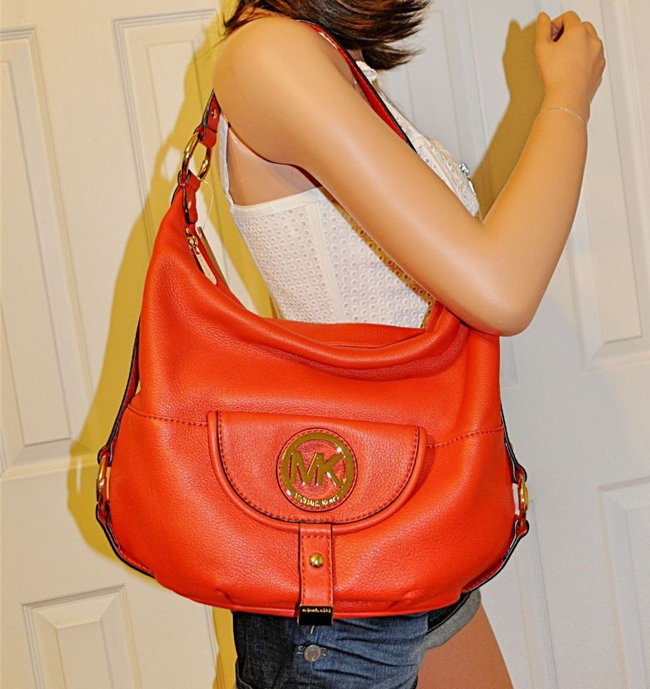 1f2d0892117b23 Michael Kors Fulton Hobo Large Leather Shoulder Tote Bag Purse Mandarin NWT  #MichaelKors #ShoulderBag