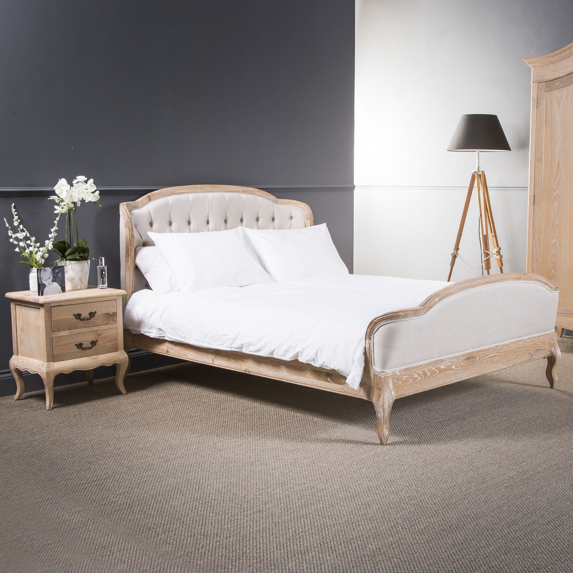 French Limed Oak Upholstered Curved Buttoned Back Bed