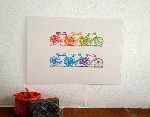 RAINBOW CYCLE  Letterpress  Print by TheRedButtonPress on Etsy