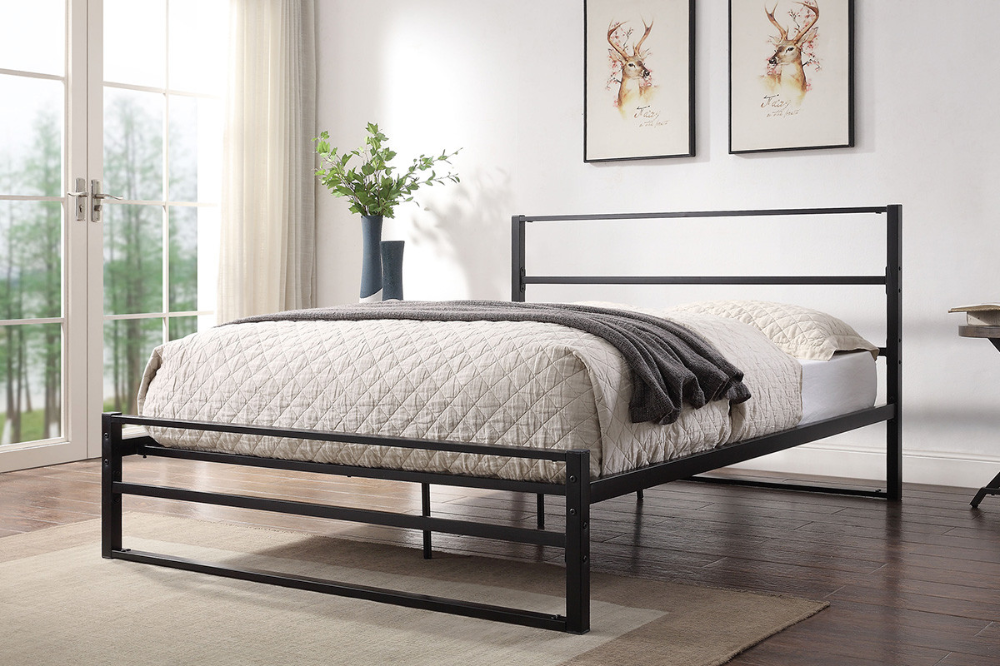 Hartfield Black Metal Bed Frame Single Double King Sizes Crazy Price Beds In 2020 Black Metal Bed Frame Black Bed Frame Black Metal Bed