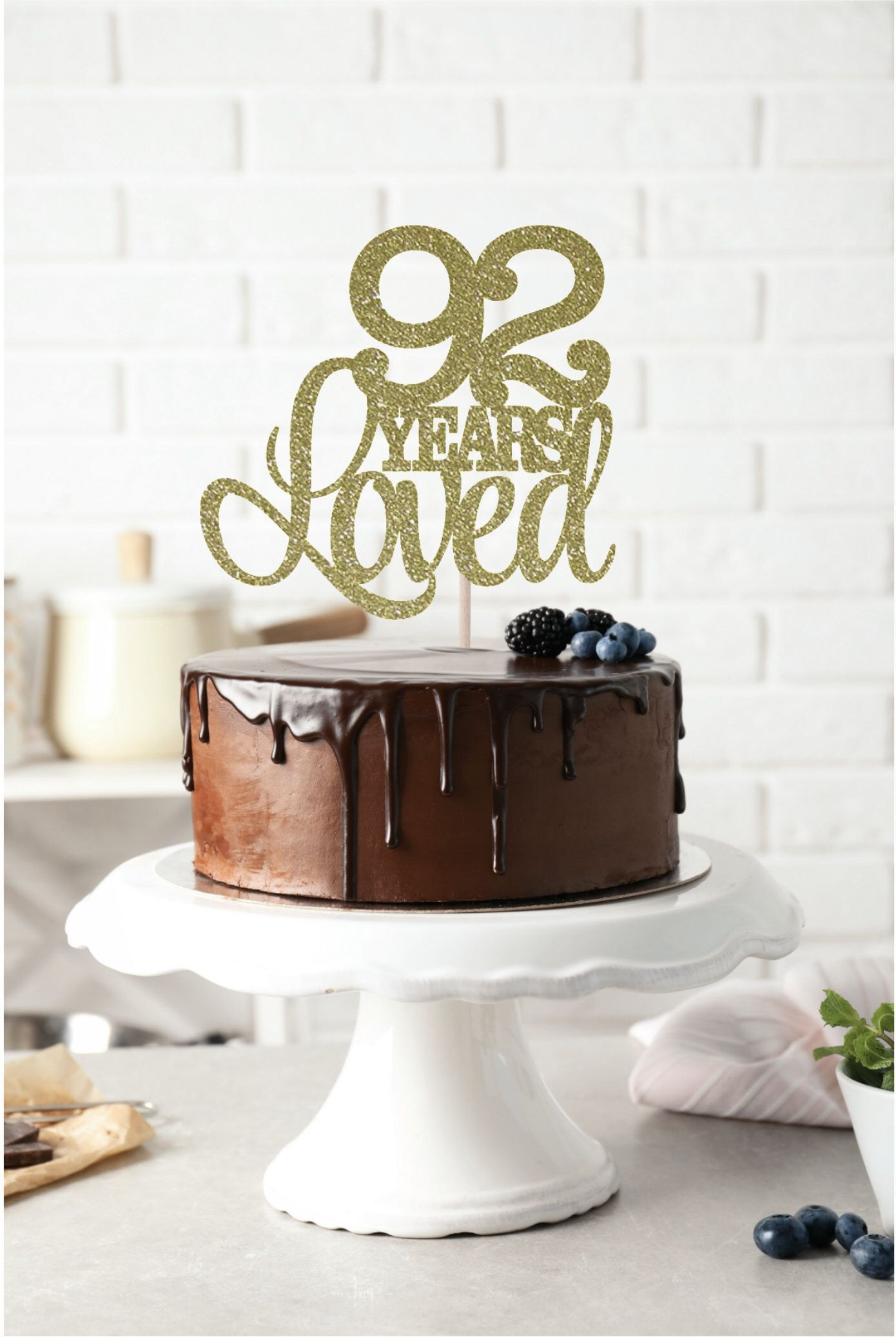92 Years Loved Cake Topper, 92nd Birthday Cake Topper