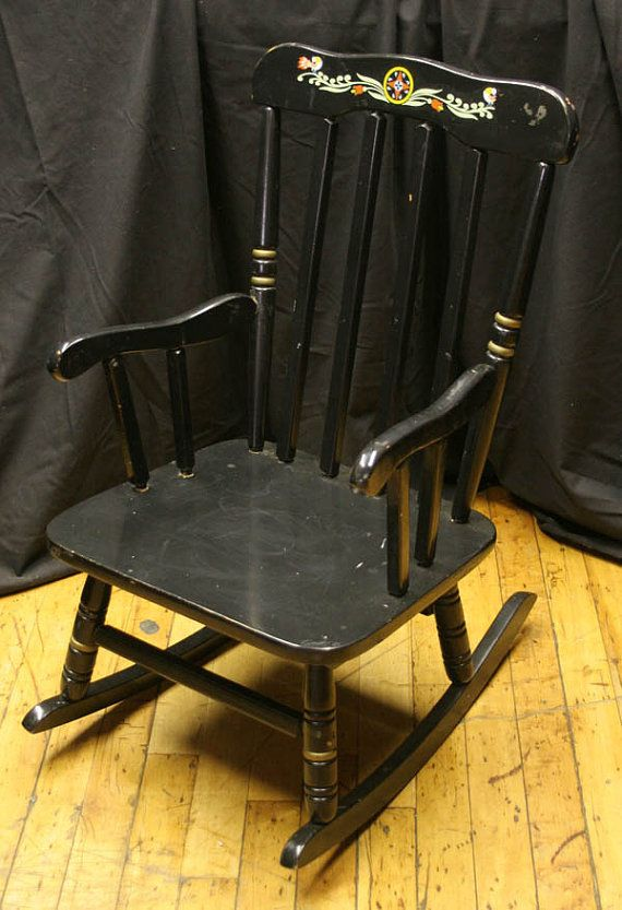 Vintage Child Rocking Chair Painted Black Kids By ScrantonAttic, $99.99
