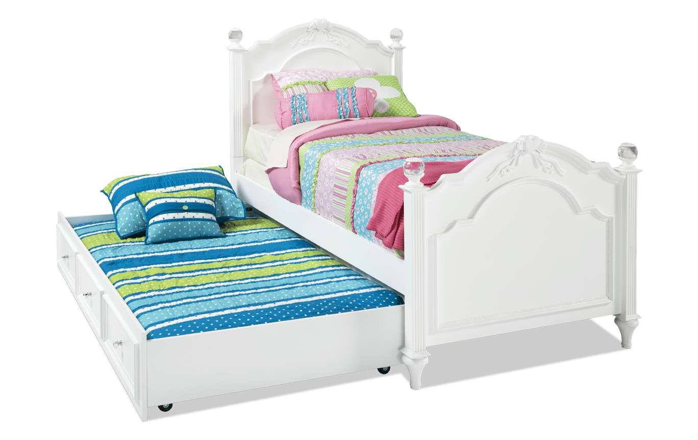 Madelyn Full Platinum Bed With Trundle Twin trundle bed, Bed