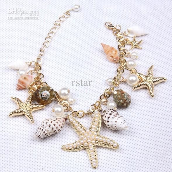 2013 fashion jewelry Gold Plated Starfish Seashell Conch Pearl
