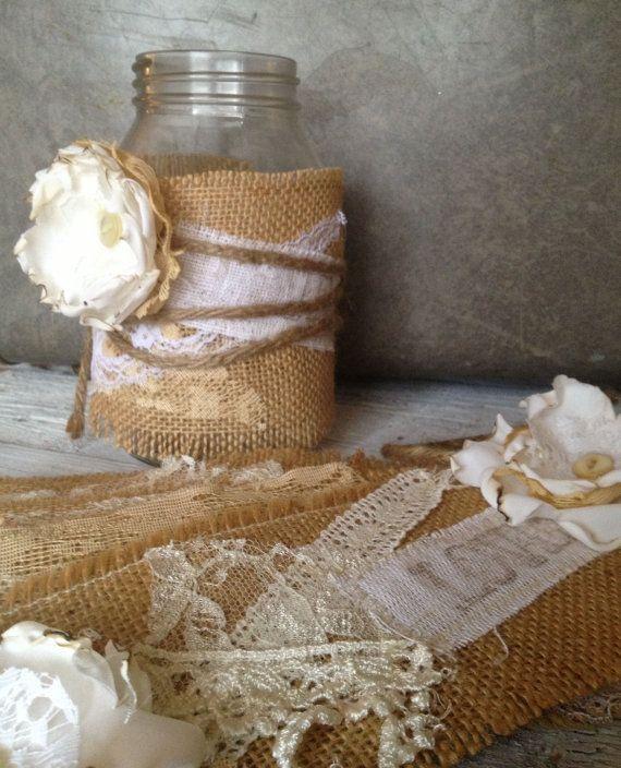 Vintage Rustic Wedding Ideas: Rustic Wedding Decor, Rustic Centerpiece, Burlap Mason Jar