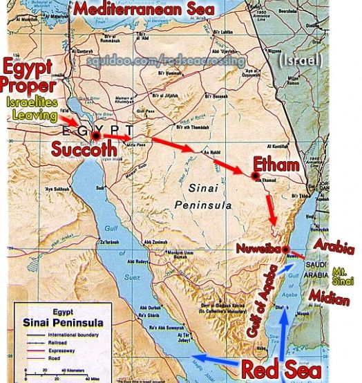 Map showing the route of the Exodus So where did they go once they