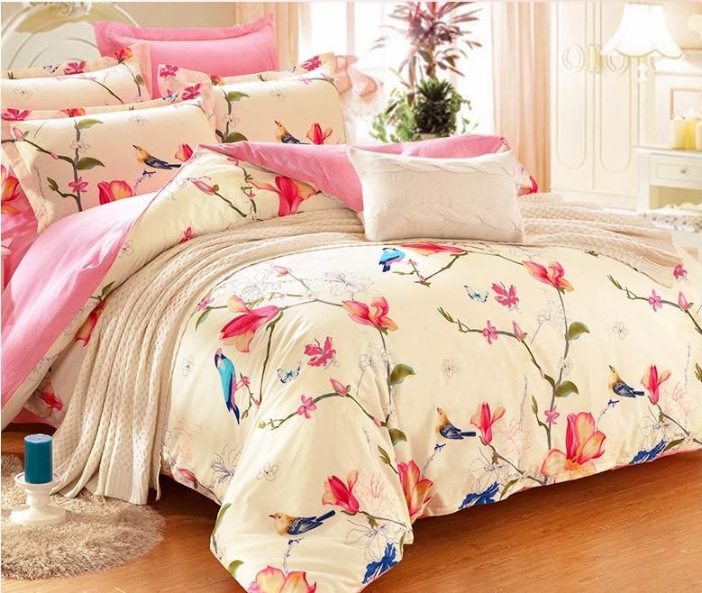 European And American Bird Bedding Sets Eyedrop Bedlinens King Size Duvet Cover Cotton Embroidery Top Quality