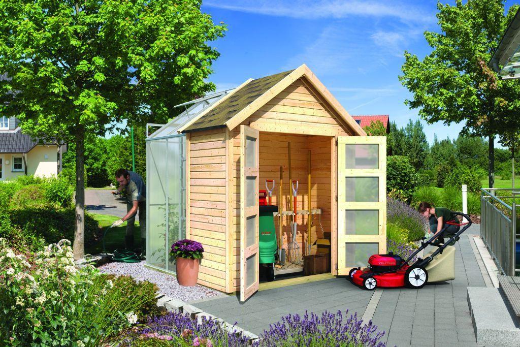 Abri de Jardin Bois 3.64 m2 avec Serre Polycarbonate 2.49 m2 (19 mm ...