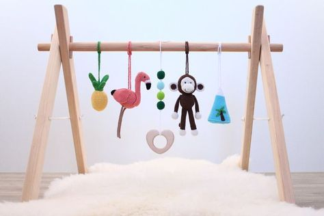 Tropical Baby play gym. Flamingo, Pineapple, Monkey, Whale, Wooden ...
