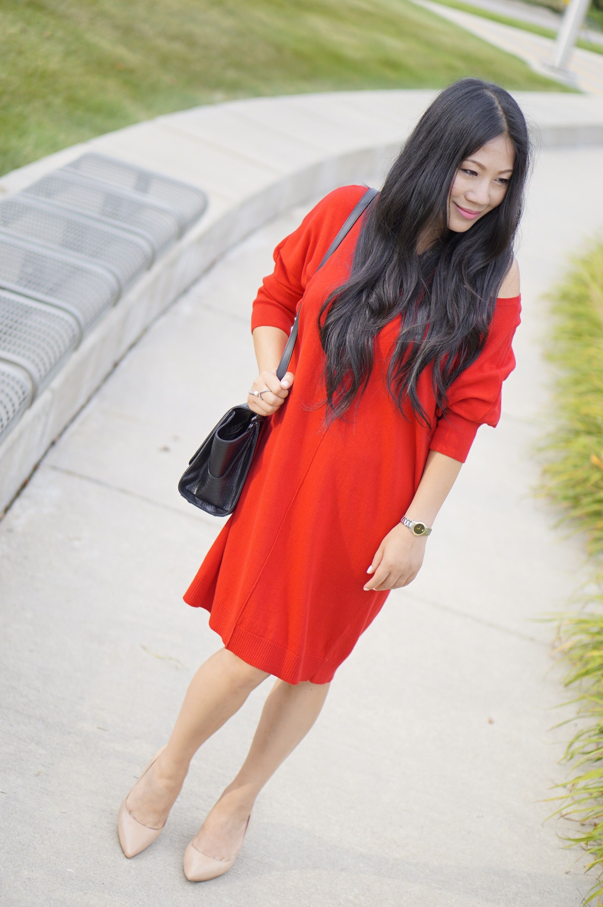 9d3615f7773 Express red sweater shift dress+Nine west nude pumps+Zac Posen black bag+Coach  sunglasses
