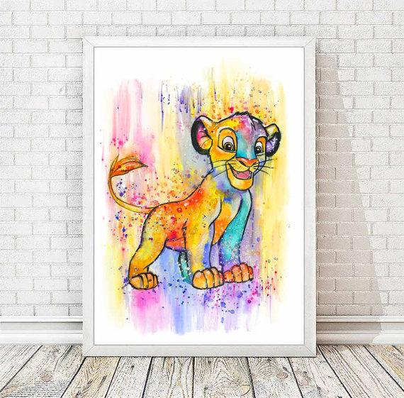 Simba Aquarelle Abstraite Imprimer Disney Affiche Le Roi Lion