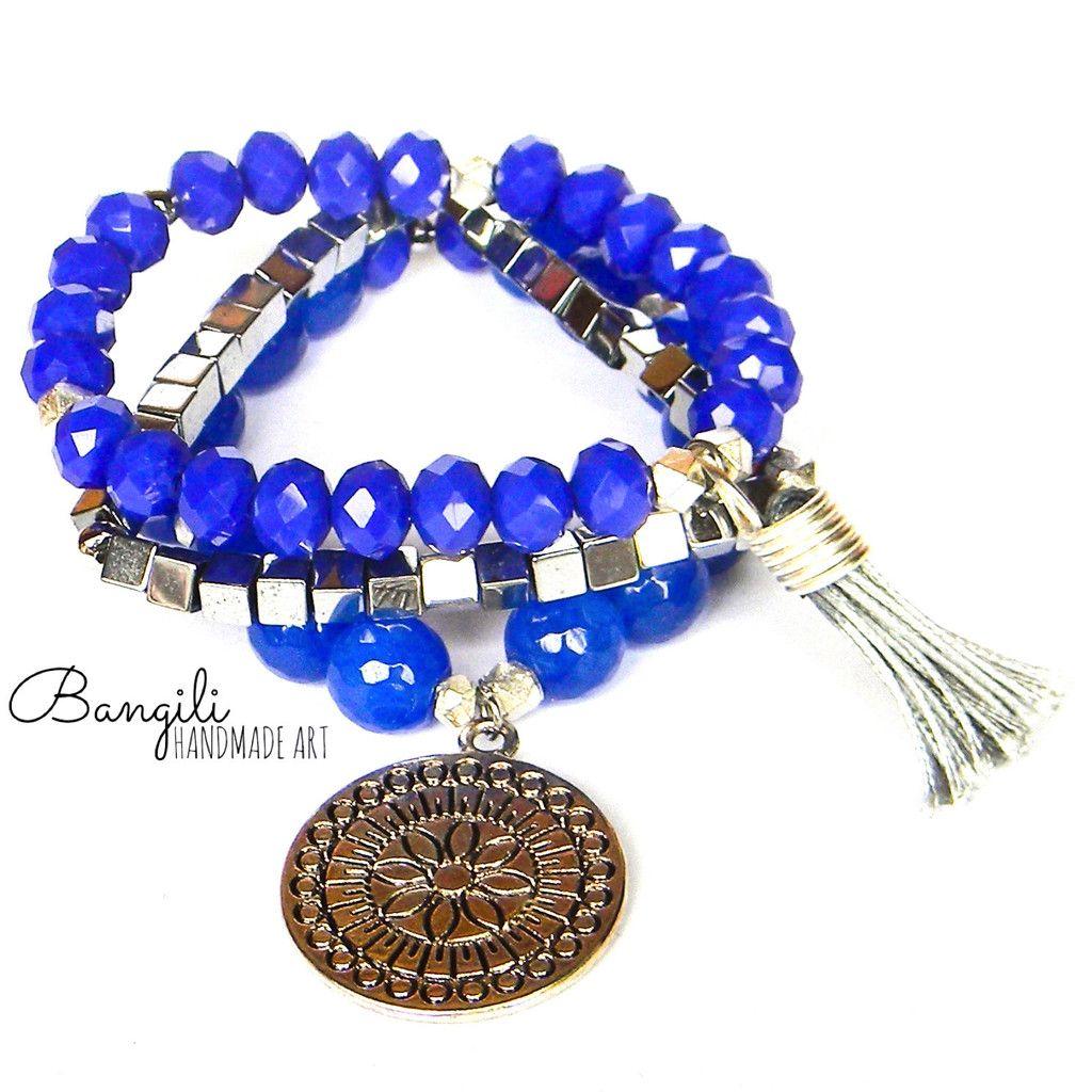 Mandala Charm Blue Bracelet Trio