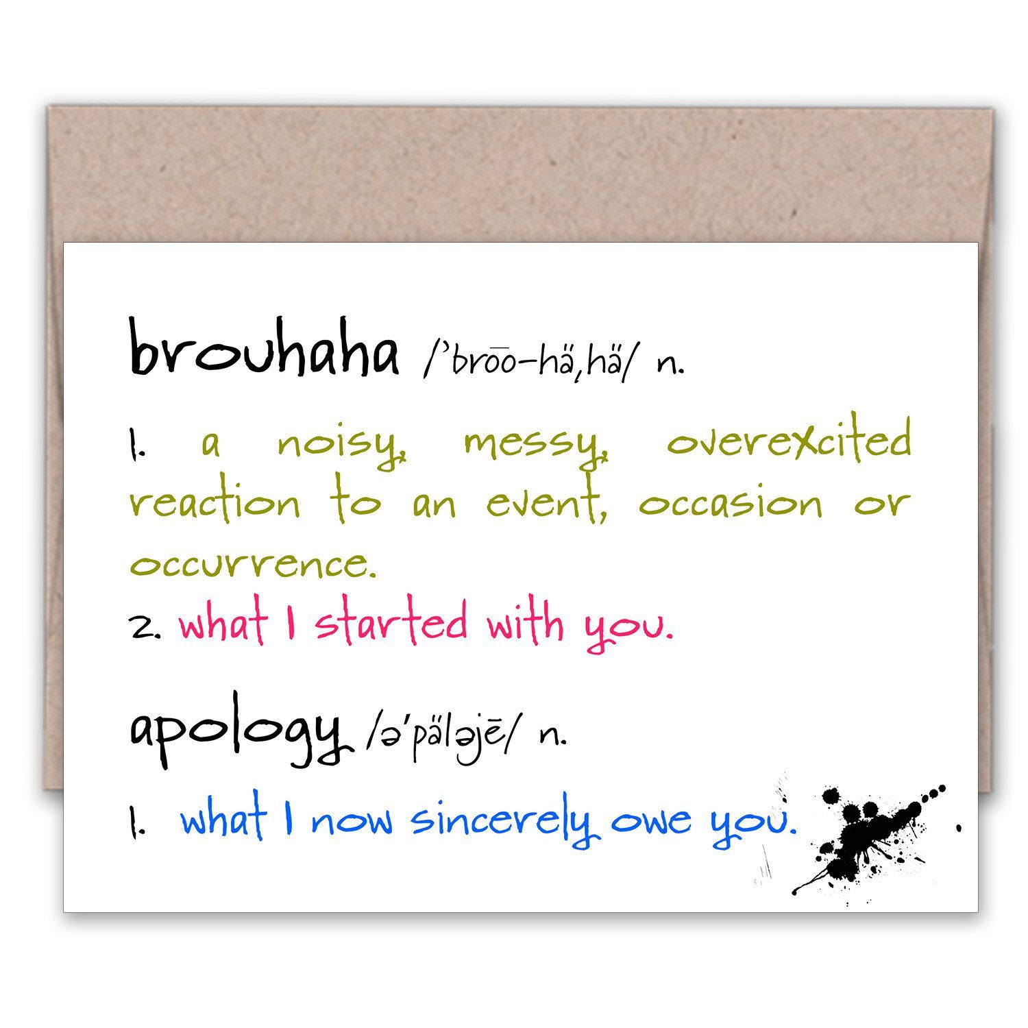 Brouhaha a very funny apology greeting card m4hsunfo