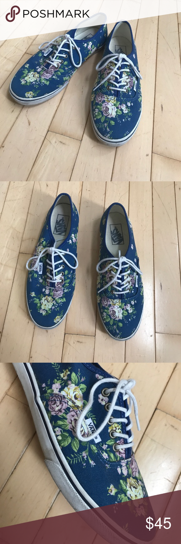f46a7a478fac Flower lace up Vans Navy blue base with yellow and purple flowersBright  white laces