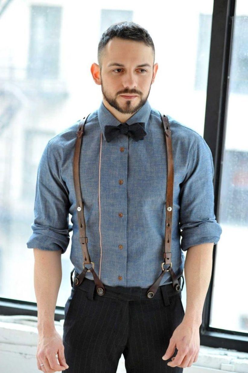 Marino Suspenders and Bow Tie Set Dress Suspenders For Men Silk-Like Pants Suspenders