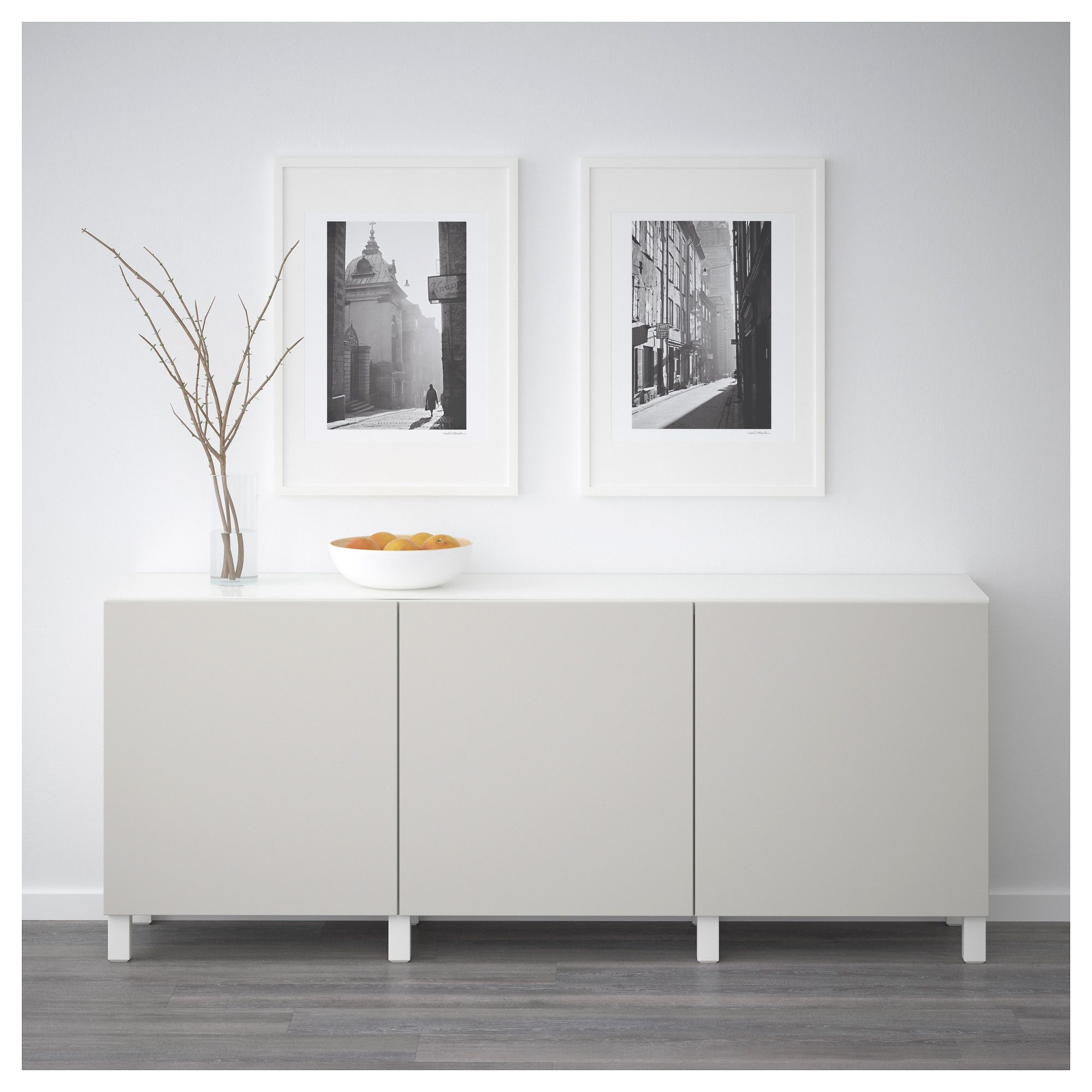 bestÅ storage combination with doors, white, lappviken light gray in