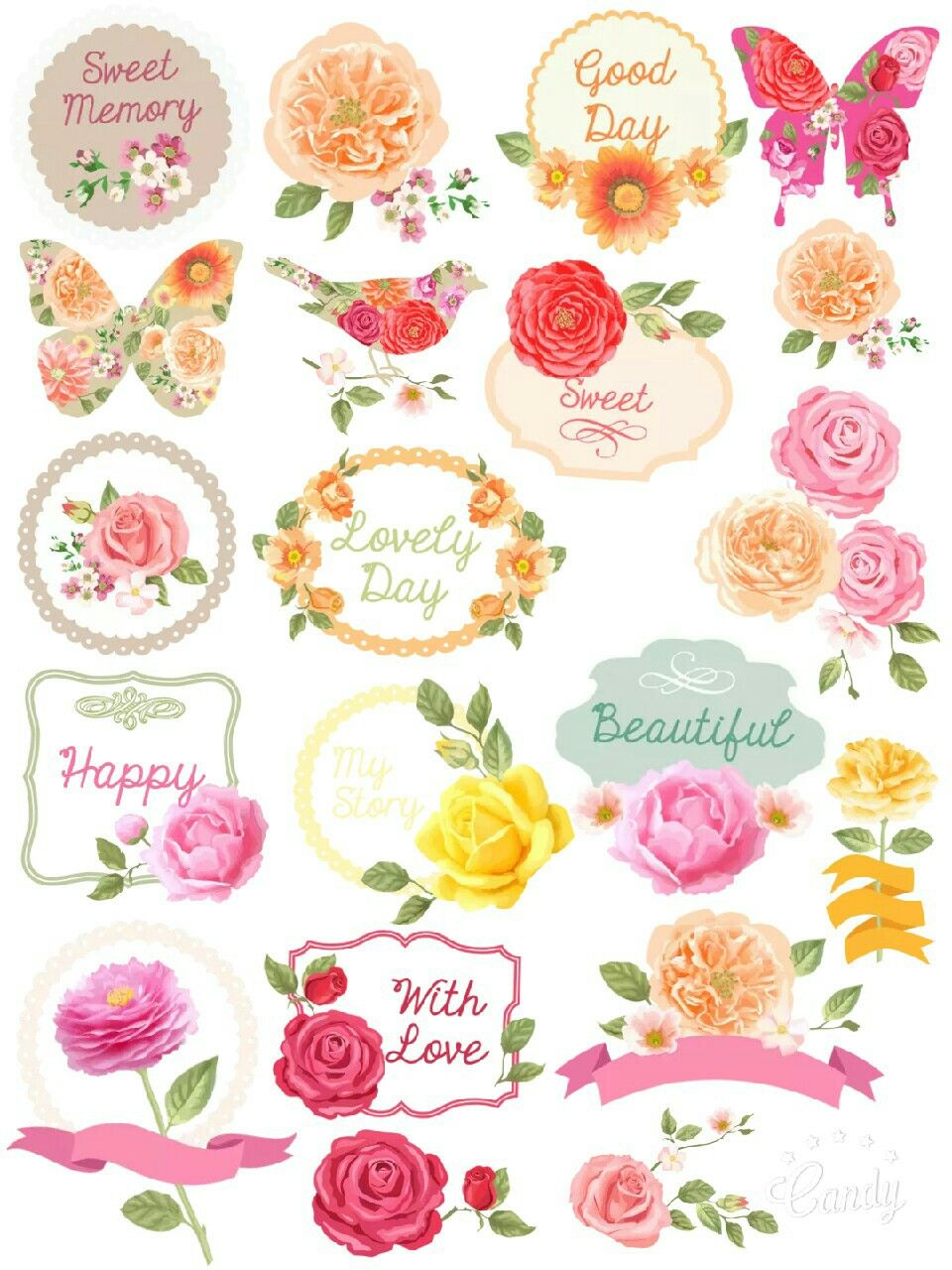 Printable Flower Stickers