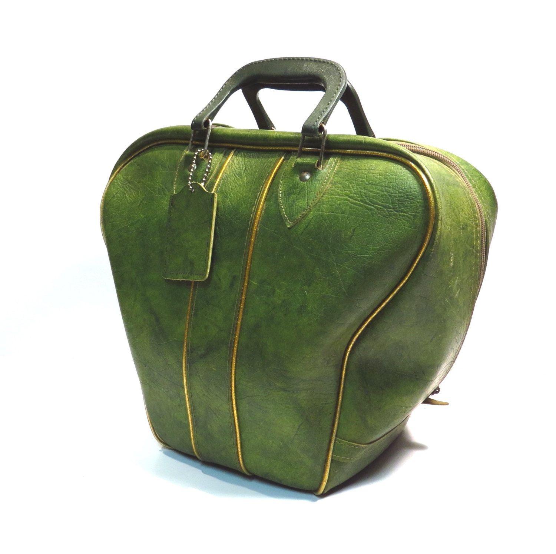 Olive Green Bowling Bag Vintage 1950s 1960s Rockabilly Bowling Ball Bag Overnight Luggage Bowling Bags Bowling Ball Bags Vintage Bags