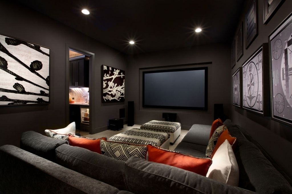 Excellent Small Media Room Ideas Using Grey Fabric Sofa With
