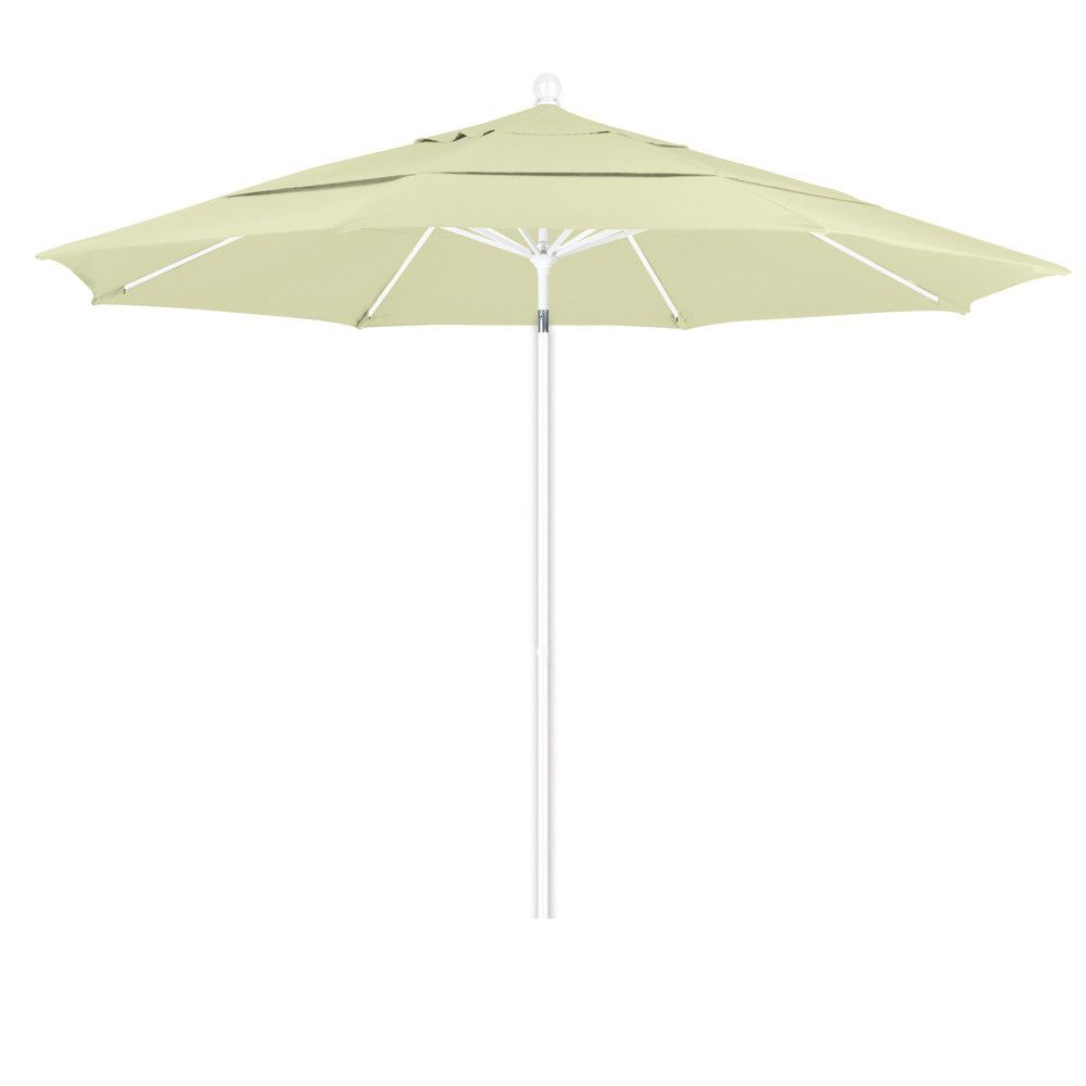 11 Foot Pacifica Fabric Aluminum Pulley Lift Patio Patio Umbrella With White  Pole, 20 Colors