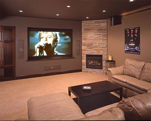 This Would Look Great For My Husband S Man Cave Love The Fireplace Basement Fireplace Low Ceiling Basement Basement Carpet