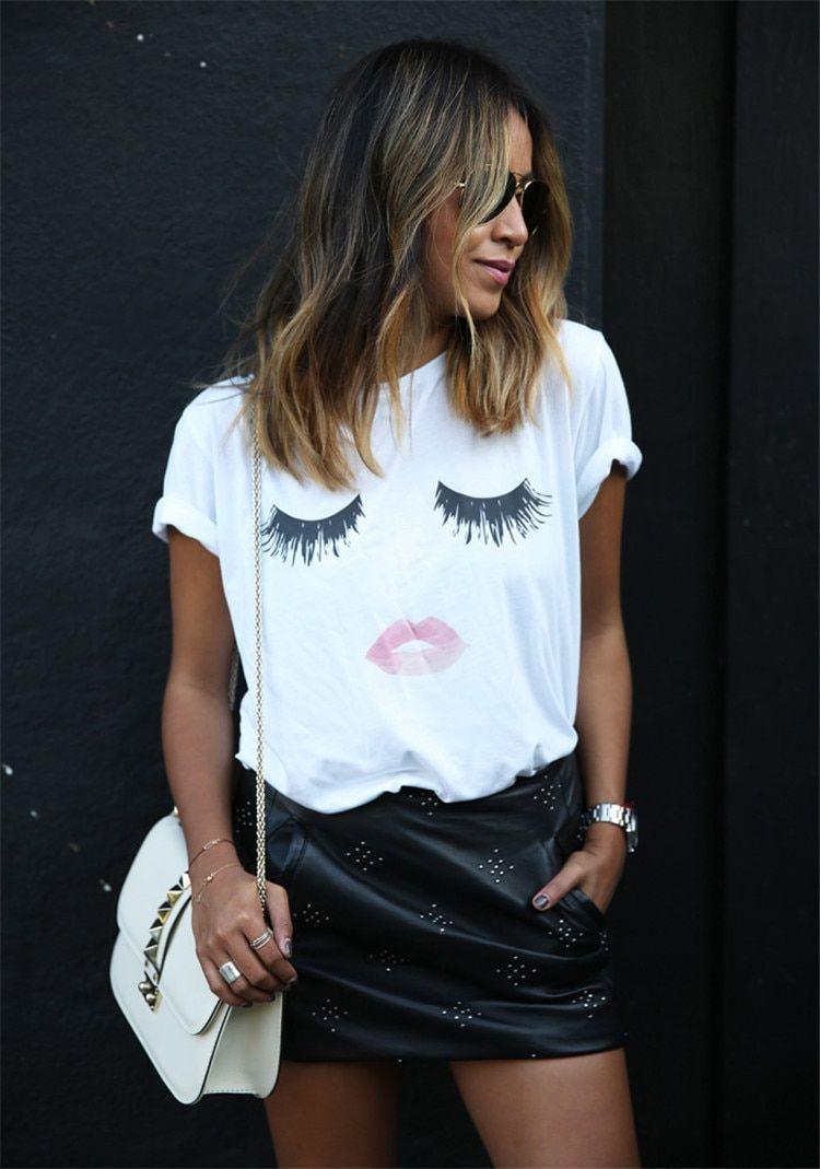 039fe4604 Eyelash red lips print short sleeve t-shirt en 2019   Vêtements ...