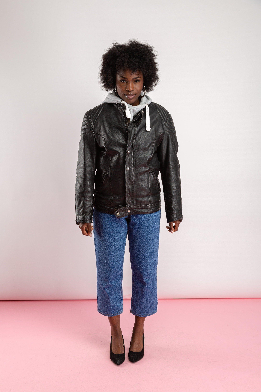 Vintage Padded Biker Jacket Black Leather Motorcycle Buckle Etsy Denim Jacket Women Black Leather Biker Jacket Womens Leather Biker Jacket [ 3000 x 2000 Pixel ]
