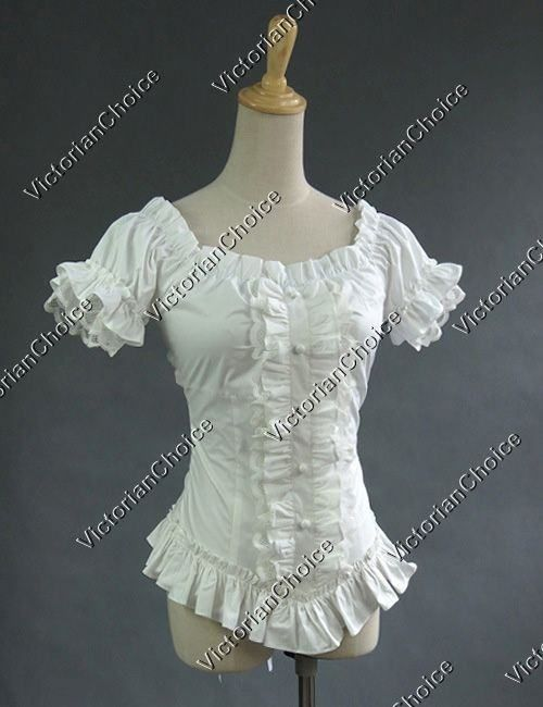 06cef208591 Victorian Romantic Gothic Steampunk Punk Puff Sleeve Ruched Blouse Top Shirt  Halloween Costume