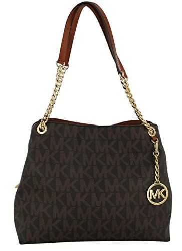 065076cfff71 Celebrate Great American Fashion with The Michael Kors Jet Set Chain  Signature Print Large Leather Purse. This bag features signature MK print  PVC exterior