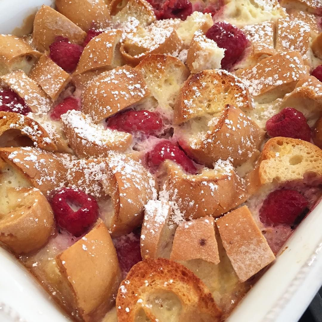 "This crunchy, creamy and slightly sweet Raspberry French Toast Strata is my new ""go-to"" brunch item. You'll love how simple but special it is!"