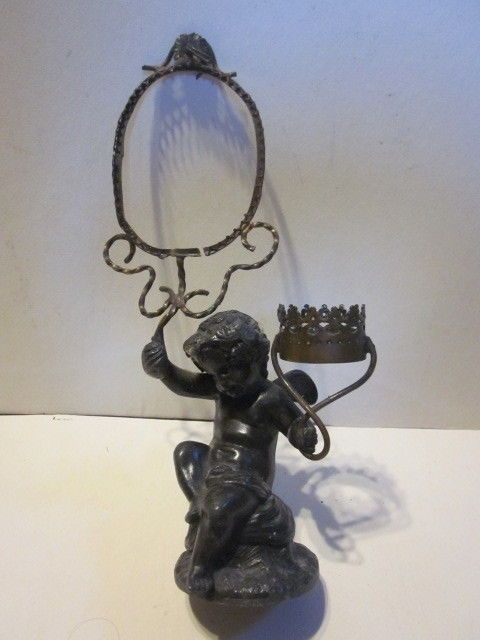 ANTIQUE VICTORIAN CAST METAL CHERUB PICTURE FRAME AND CANDLE HOLDER