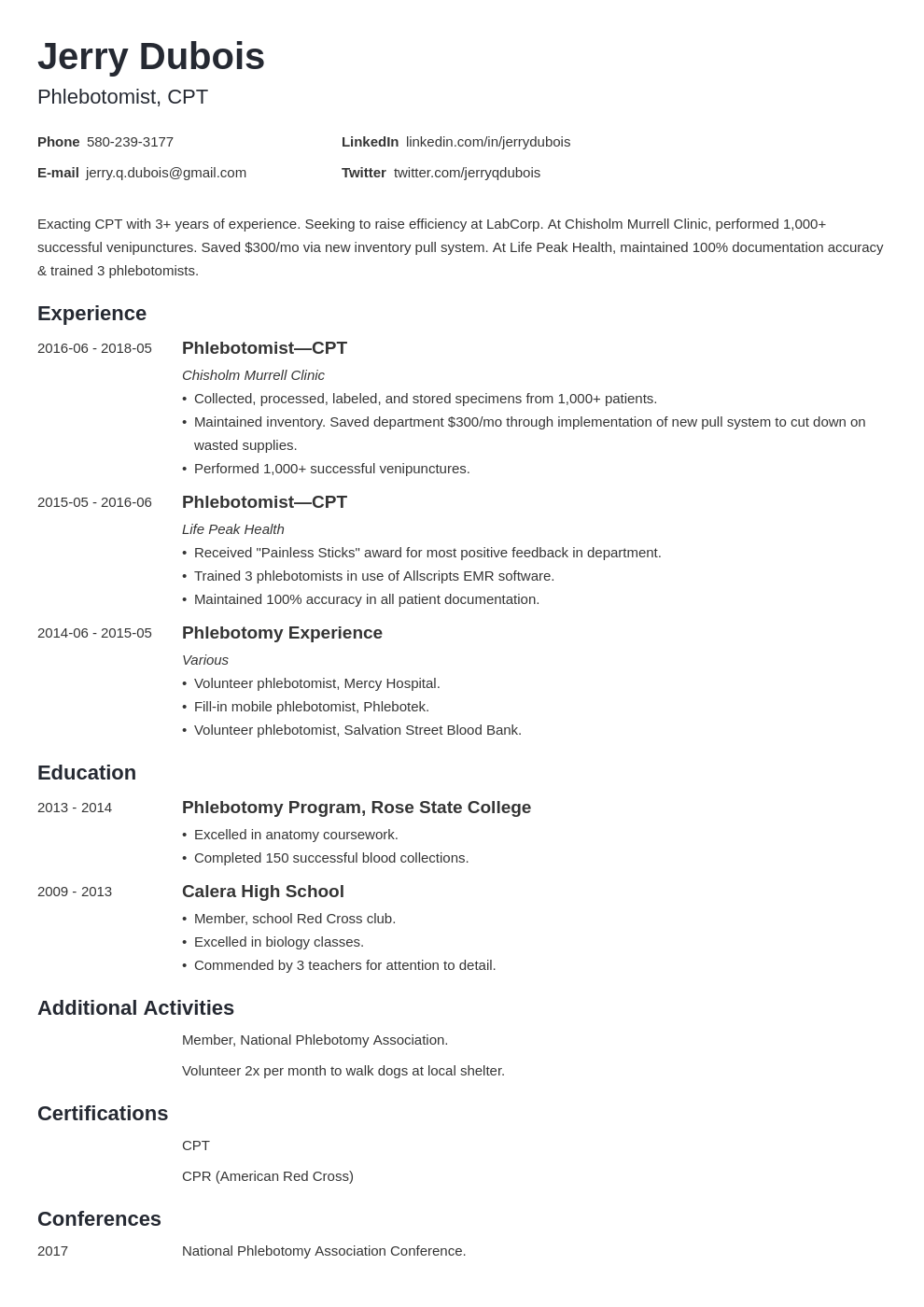phlebotomy resume example template minimo in 2020 Resume