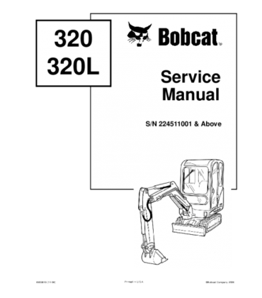 Bobcat 320, 320l compact excavator service repair manual