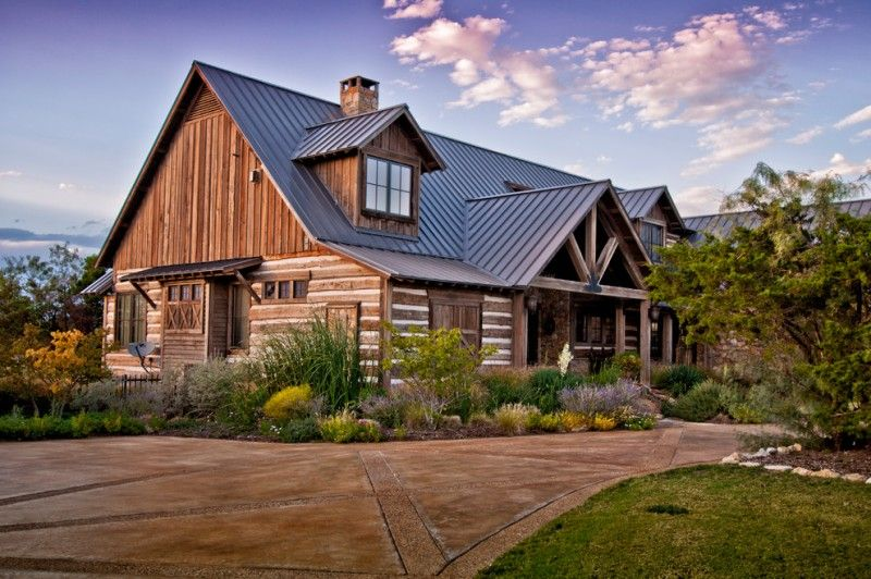 Texas Ranch House Plans Gable Roof Wood Exterior Stone Pavers