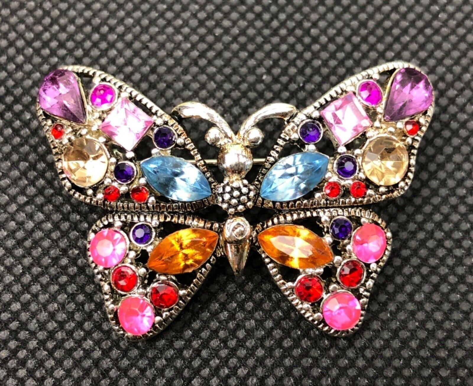 Crystal Glass Rhinestone Butterfly Brooch