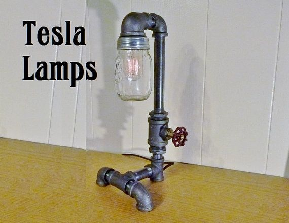 FAUCET HANDLE DIMMER Pipe Lamp With Mason Jar Shade By TeslaLamps, $175.00
