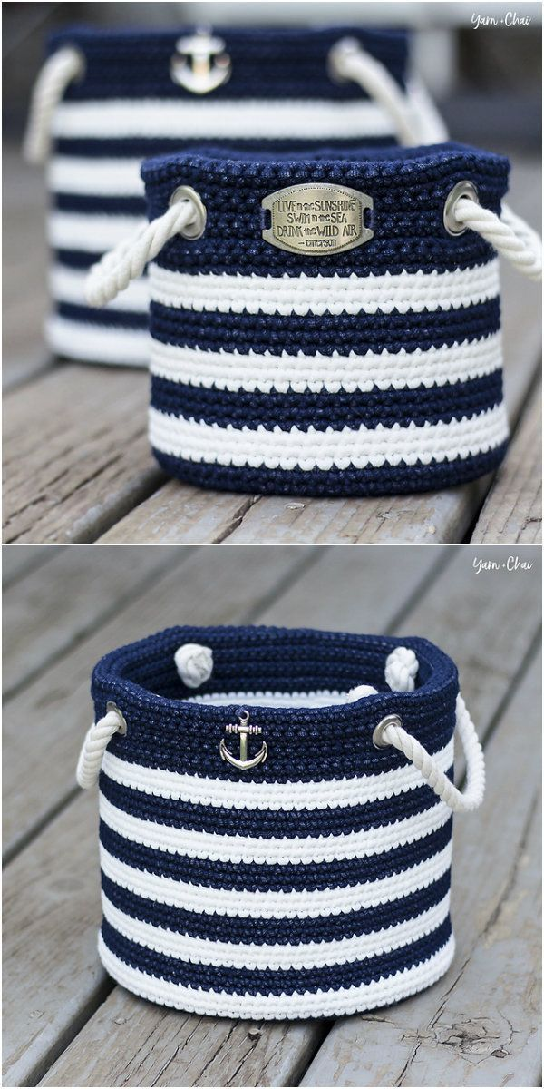 Nautical Basket Free Crochet Pattern - #basket #Crochet #Free #Nautical #Pattern #crochetpatterns