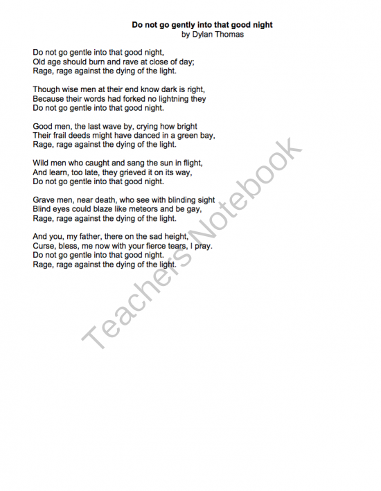 Teacher Notebook Poetry Analysi Writing Step Good Night Do Not Go Gentle Into That Poem Paraphrase