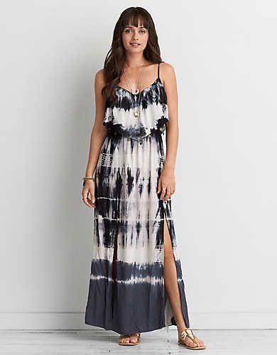 Aeo Tie Dye Ruffle Maxi Dress Black American Eagle