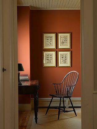 Ochs Design Persimmon Wall In Bedroom More Photos Here Restoredfarmhouse Com Historic Paint Colours Orange Walls Interior