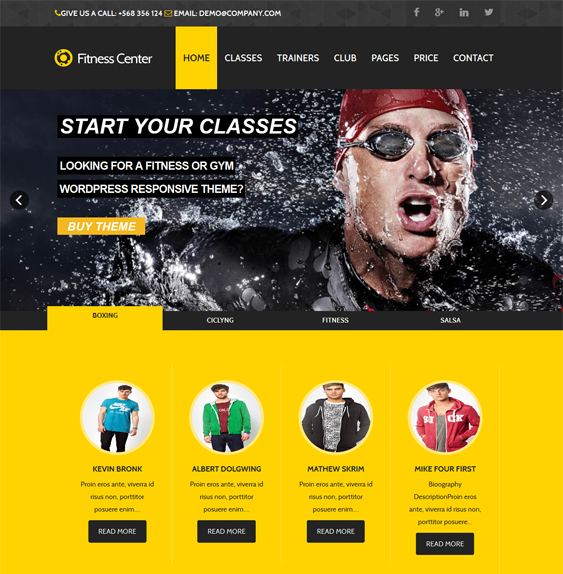 This fitness WordPress theme offers Google Maps integration ...