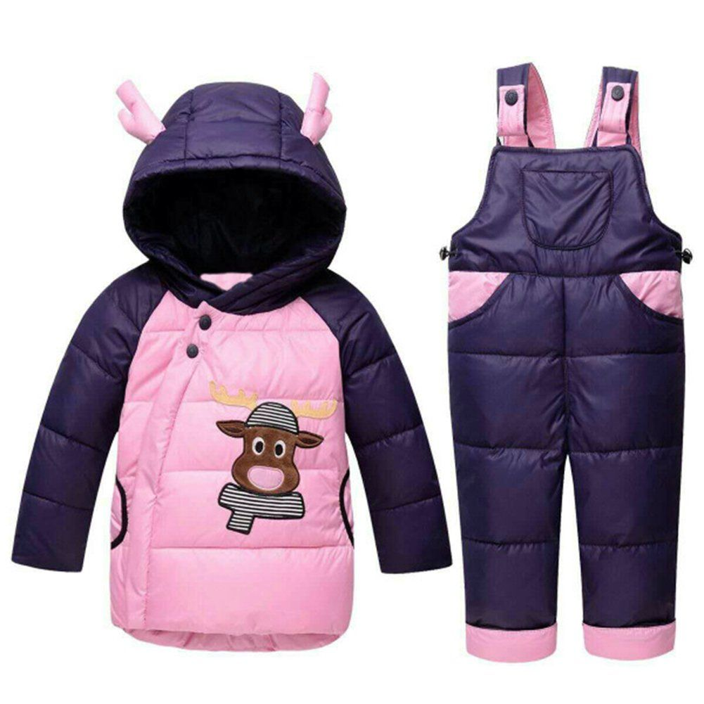 9cb63d8ac Baby Girls Warm Snowsuit Toddler Puffer Hooded Jacket + Bib Pants 2 ...