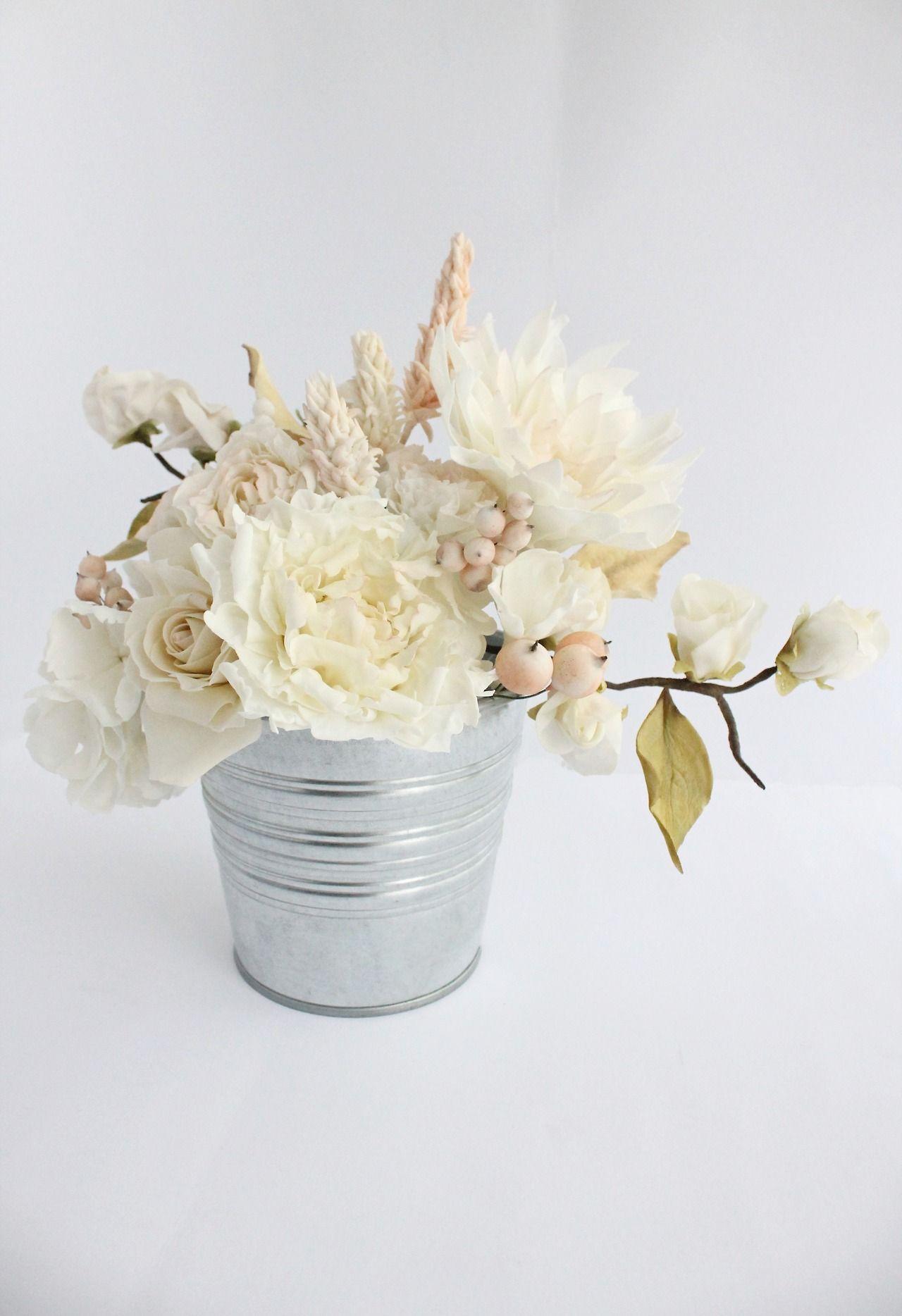 Gumpaste Flowers Spray Rose Berries Dahlia Rose Peony Celosia